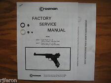 Crosman Mark MK I 1 Mark MK II 2 Pistol Seal Kit Factory Service Manual & Guide