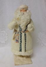 Antique Spun Cotton Batting Costume Papier Mache Christmas Santa Claus Figure