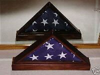 US AMERICAN MAHOGANY FLAG DISPLAY CASE W/BASE 5x9 VETERAN DBL