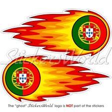 """PORTUGAL Portuguese Fireball-Flaming 5""""(125mm) Bumper-Helmet Stickers Decals x2"""