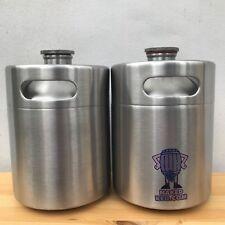 Mini Barril Cerveza Growler Dos 2L 1818ml Acero Inoxidable Botella Tapa de Rosca