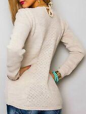 Sexy Miss suéter brillo lurex suéter bolsillos stríck Mix 34/36/38 beige oro