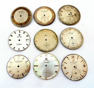 Lot 9 Vintage Face Dials Watches Omega Girard Perregaux Roamer Replacement Parts