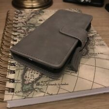 iPhone 8  Real High Grade Leather Stone Grey Case High End Business Class Folio