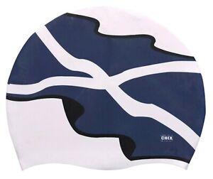 CHEX 100% Silicone Scottish Scotland Flag Saltire St Andrew's Cross Swimming Cap