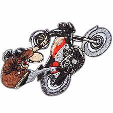 Wheelie Challenge Biker Rider Motorbike Motorcycles Cartoon Iron-On Patches B006