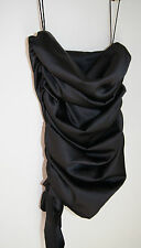 Beau Bra Black Satin Ruched Evening Top Small