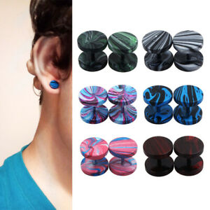 2pc Colorful Surgical Steel Fake Ear Plug Stud Tunnel Stretcher Piercing Earring