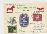 Germany 1959 Frankfurt Lady holding Corn Slogan Cancels Two Stamps Card Ref23393