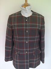 LADIES PURE NEW WOOL GREY CHECK LEAD REIN JACKET SIZE 14