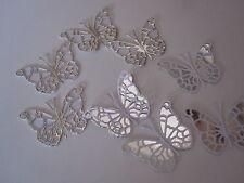 14 MINI 3D Die Cut decorazioni di farfalla in argento duur/carta bianca