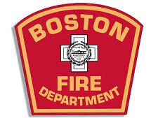4x4 inch BOSTON FIRE DEPARTMENT Logo Shaped Sticker - bfd firefighter mass dept