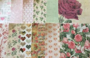 12 Sheets 6x6 pink Green Floral Rose Card Assorted Craft Cardmaking Scrapbooking
