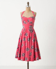 Anthropologie Girls From Savoy Akebono Pinup Halter Dress in Hot Pink Size 8 NWT