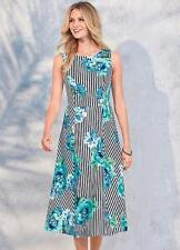 Bold Striped Fit and Flare, Scuba Fabric Midi Dress with Floral Print Size 8