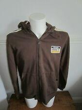 Vintage mens team adidas hoodie sweatshirt brown xl 3 stripe great badge