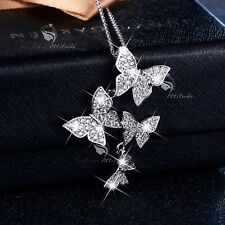 18K WHITE GOLD GP MADE WITH SWAROVSKI CRYSTAL FLYING BUTTERFLY PENDANT NECKLACE