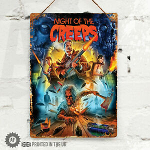 NIGHT OF THE CREEPS Metal Wall Sign Pub Bar Kitchen Home Mancave Film Poster 80s