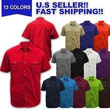 Men Work Shirts PLAIN WOVEN SHIRT Button Down SOLID BASIC DRESS SHIRTS M-6XL