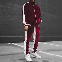 Herren Samt Trainingsanzug 2 Stück Casual Hose Sweater Sweatsuit Sweatshirt Set
