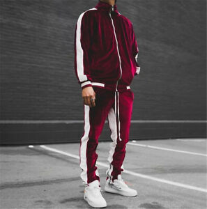 Mens Velvet Tracksuit 2 Piece Casual Pant Sweater Sweatsuit Sport Sweatshirt Set