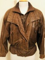 Distressed Brown Leather Bomber Jacket Adventure Bound Thinsulate Women's Small
