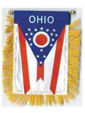 """Ohio Mini Banner Flag 4 x 6"""" with Brass Staff & Suction Cup - New"""