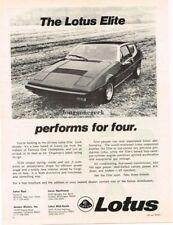 1975 Lotus Elite performs for four Vtg Print Ad