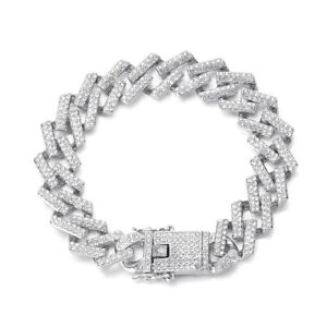 Diamond Bracelet&Necklace Hip Hop Inlaid Rhinestone Cuban Necklace Link Chain