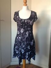 Dress/Tunic From BHS, Fitted, Handkerchief Hem, Grey Print Sz 12 Polyester