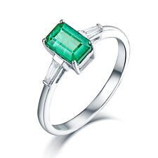 14K White Gold Natural Emerald & Baguette Engagement Women's Gem Ring