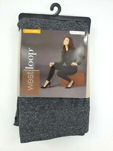 West Loop Women's Sz M/L Navy Solid Fleece Leggings Medium Large B21