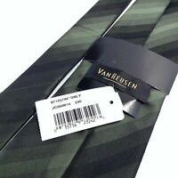 """VAN HEUSEN Men's Striped Silk Black Green Stain Resistant Neck Tie 57"""" x 4"""" NEW"""