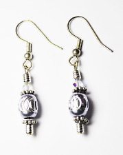 """Beautiful Silver Plated Silver Oval Bead Crystal Dangle 1-3/4"""" Earrings 8mm"""
