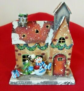 VINTAGE TIN CHRISTMAS HOUSE DOUBLE CANDLE HOLDER Beautifully Decorated