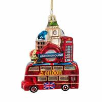 London City Bus Big Ben Phone Booth Collage Glass Christmas Ornament