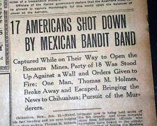 SANTA ISABEL MASSACRE Pancho Villa Culprit ? Chihuahua Mexico 1916 Old Newspaper