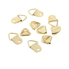 40Pcs D Ring Hooks Golden Brass Triangle Photo Picture Frame Wall Mount FO