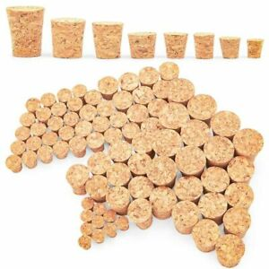 80 Pack 8 Sizes Tapered Cork Plugs, Suitable for Cork Plug Replacement and Craft
