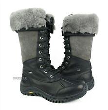 UGG Australia Adirondack II Tall Black Leather Fur Boots Womens Size 7 *NIB*