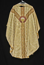 5pc GOLD CHASUBLE & STOLE Festive Priest Vestments Church Clergy Christmas
