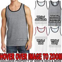 Mens PRESHRUNK Cotton Ringer Tank Top Sleeveless T-Shirt S-XL 2XL, 3XL, 4XL NEW