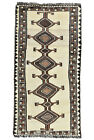 Vintage Tribal Oriental Gabbeh Rug, 3'x7', Ivory, Hand-Knotted Wool Pile