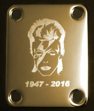 Engraved Photo Etched GUITAR NECK PLATE - Fits Fender - DAVID BOWIE - Gold