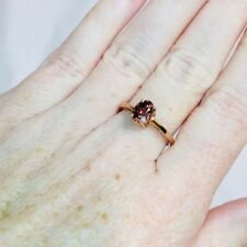 10K Rose Gold Solitaire Ring With Dark Pink Oval Center Stone Size 7  1.5 grams