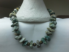 BOHEMIAN Green spot Tree Agate /Forest Jasper tumbled beads Necklace CHAKRA BOHO
