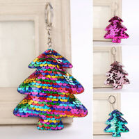 Glitter Sequins Christmas Tree Shape Keychain Women's Charm Bag Pendant Keyrings