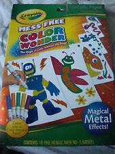 CRAYOLA COLOR WONDER METALLICS MESS FREE~INCLUDES 18PGS&5MARKERS~FOR AGES 3+~NEW