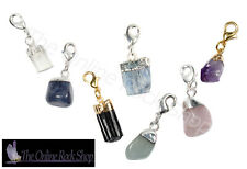 Mini Crystal Charms, Gold or Silver Plated, Beautiful Natural Gemstone Charms