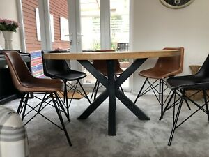 1000mm - SOLID OAK ROUND PAINTED CROSS LEG TABLE - HANDCRAFTED - MADE TO ORDER
